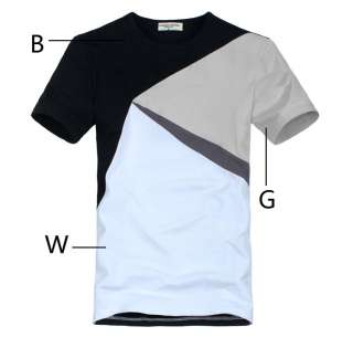 Mens T shirt Short Seeve Basic Tee / Contrast Color Black White Gray