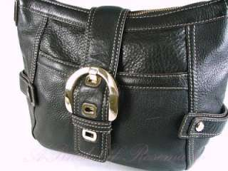Anne Klein Newtown Pebbled Leather Buckle Hobo Purse Bag Black