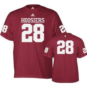 Indiana Hoosiers Red adidas #28 Football Jersey T Shirt