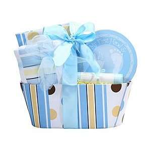 Babies First BOY Baby Carriage Gift Basket  BLUE Baby
