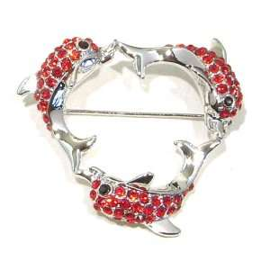 Austrian Rhinestone Silver Tone Three Dolphin Heart Shaped Brooch Pin