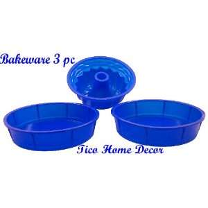 3PC SILICONE BAKEWARE SET, CAKE PAN COOKWARE