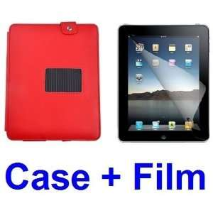 RED FAUX LEATHER CASE WITH STAND FOR IPAD 2+ SCREEN