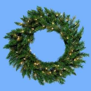 Lit Classic Green Designer Artificial Christmas Wreath   Clear Lights