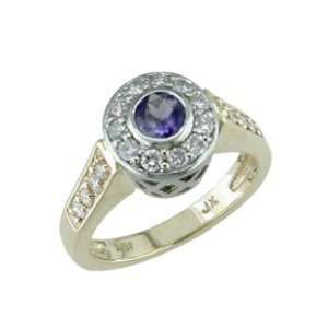 Aveance   size 14.00 14K Two Tone Gold Iolite & Diamond Ring Jewelry
