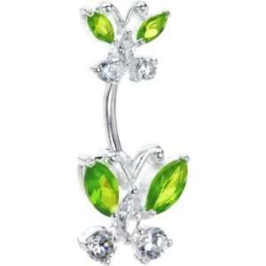 Sterling Silver 925 Peridot Swarovski Butterfly Belly Ring Jewelry