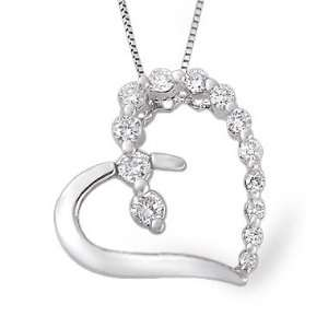 14K White Gold Journey Diamond Heart Pendant (0.36 ctw. GH