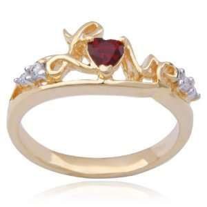 Yellow Gold Plated Sterling Silver Cubic Zirconia Love Ring, Size 8
