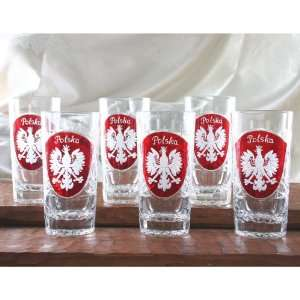 Clear Crystal   Highball Glass with Red Shield, Set of 6