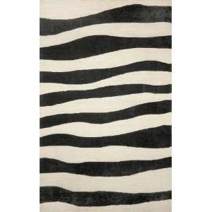 Indoor/Outdoor Hand Tufted Area Rug Wavey Stripe 8 x 10 Black Carpet