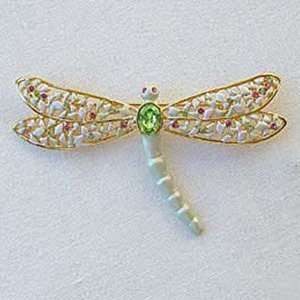 Platinum Plated Swarovski Crystal Large Dragonfly Brooch/Pin Jewelry