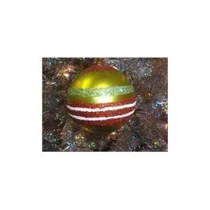 Lime Green   Red & White Glitter Striped Ball Christmas Orname