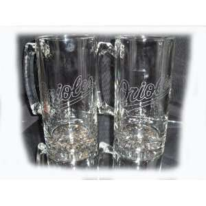 Orioles Logo Etched 25 oz Glass Mugs Set of 2