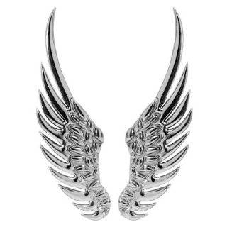 3d Chrome Silvery Stainless Alloy Metal Angel Wings Emblem Decal