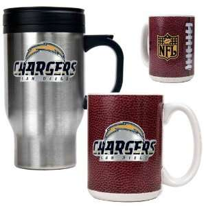San Diego Chargers NFL Travel Mug & Gameball Ceramic Mug Set