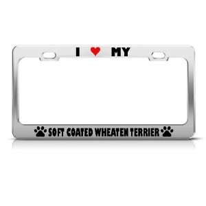 Soft Coated Wheaten Terrier Paw Love Pet Dog License Plate Frame Tag