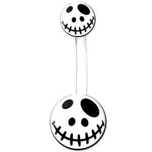 White Black Voodoo Doll Belly Ring Jewelry