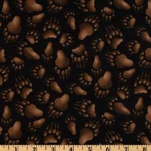 Wide North American Wildlife 2011 Bear Paws Black Fabric By The Yard