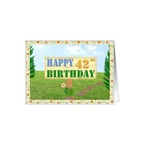 Happy 42nd Birthday Sign on Footpath Card Toys & Games