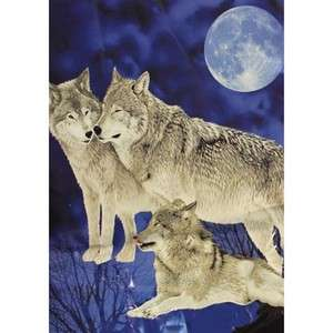 Size Fleece Blanket 79x95 Mink Style Wolf Wolves Under Moon