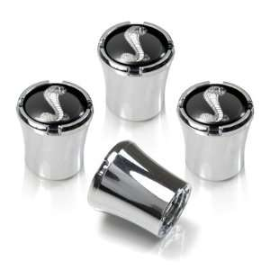 Ford Mustang Cobra Black Logo Chrome Tire Stem Valve Caps