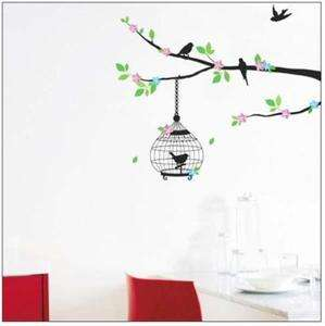 Flower Tree Bird Cage Art Mural Wall Vinyl Sticker Decal Home Decor