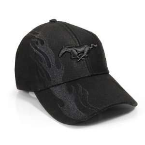 Ford Mustang Black Flame Baseball Cap Automotive